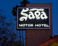 Route 66: Saga Motor Hotel Neon Sign, Pasadena, CA Stock Photos