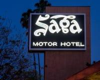 Route 66 neon sign and historic vintage roadside motel for Saga motor hotel pasadena ca