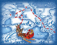 The route of Santa Claus Stock Image