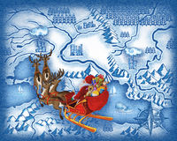 The route of Santa Claus Stock Images