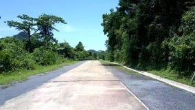 Route sauvage avec les poteaux noirs et longue barrière grise dans la forêt banque de vidéos