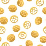 Route seamless pattern, realistic style. Vector illustration of an Italian pasta variety of rotelli. Delicious food, gourmet, cooking, exquisite concept Royalty Free Stock Photos