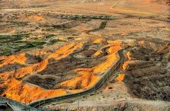 Route serpentine à la montagne de Jebel Hafeet Image libre de droits