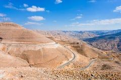 Route serpentine de montagne, Jordanie image libre de droits
