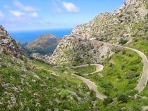 Route serpentine de paysage en île Majorque Espagne Photo stock