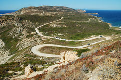 Route serpentine en île de Corse Photos libres de droits