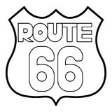 Route 66 shield icon, outline style Royalty Free Stock Photography