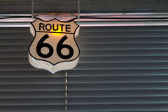 Route 66 sign in diner Albuquerque, NM Stock Photo