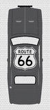 Route 66 Sign On Grey Car Royalty Free Stock Image