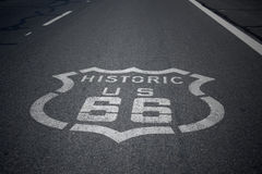 Route 66 Sign. Historic Route 66 Sign on Asphalt road royalty free stock photos