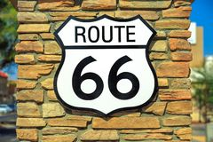Route 66 sign. Historic Route 66 road sign on a brick wall in Barstow, California, famous crossroads between Los Angeles and Las Vegas, United States of America stock images