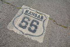 Route 66 sign in Kansas. Stock Image