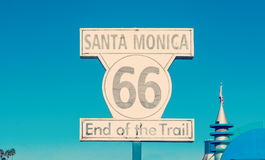 Route 66 sign in Santa Monica Royalty Free Stock Photo