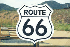 Route 66 sign. A scenic view of a historic Route 66 sign Royalty Free Stock Photo