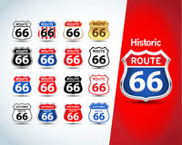 Route 66 sign set. Isolated route 66 emblems, badges, t-shirt apparel graphics. Isolated illustrations vector illustration