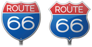 Route 66 Signs. Route 66 Interstate and Highway signs stock illustration