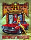 Route 66, sinal da garagem do carro do músculo fotos de stock royalty free