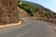 Route sinueuse de montagne, route goudronnée dans la forêt d'été Photo libre de droits