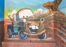 Route 66 : Sir Tow Mater Mural, motel bleu d'hirondelle, Tucumcari, nanomètre Images stock
