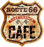 Route sixty six cafe diner sign Royalty Free Stock Images