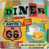 Route sixty six diner sign, Stock Photo