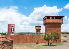 Route 66: Stolpe för fortkuragehandel, Houck, AZ Fotografering för Bildbyråer