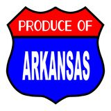 Produce Of Arkansas. Route 66 style traffic sign with the legend Produce Of Arkansas vector illustration