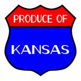 Produce Of Kansas. Route 66 style traffic sign with the legend Produce Of Kansas stock illustration