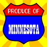 Produce Of Minnesota. Route 66 style traffic sign with the legend Produce Of Minnesota vector illustration