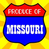 Produce Of Missouri. Route 66 style traffic sign with the legend Produce Of Missouri stock illustration