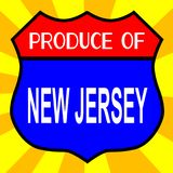 Produce Of New Jersey. Route 66 style traffic sign with the legend Produce Of New Jersey stock illustration