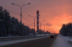 Route suburbaine de l'hiver Photo libre de droits