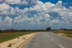 Route sud-africaine par les savannas et les déserts avec l'inscription images libres de droits