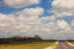 Route sud-africaine par les savannas et les déserts avec l'inscription illustration de vecteur