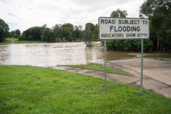 Route sujet à Floodingq Photographie stock