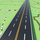 Route sur une carte de route rendu 3d Photographie stock