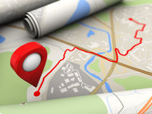 Route target. 3d illustration of road with route final target Stock Photos