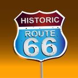 Route 66 tecken 66 Historiskt vägmärke royaltyfri illustrationer