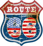 Route 66 -teken, retro en grungy royalty-vrije illustratie