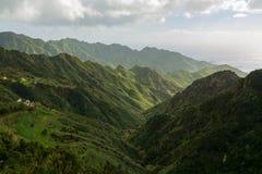 Route TF-12 en parc rural d'Anaga - crêtes avec la forêt antique sur Te Photos libres de droits