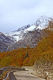 Route till det Monte Croce Carnico passerandet, Alps, Italien Royaltyfria Bilder