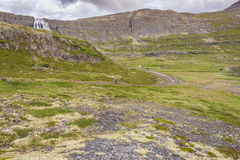 Route to Dynjandi waterfall - Iceland. Royalty Free Stock Image