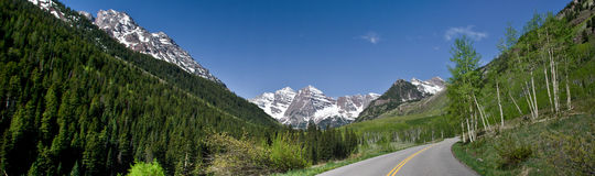 Route to Maroon bells. The road to Maroon Bells ,Colorado, USA Stock Photos