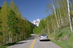 On route to Maroon Bells in Colorado Royalty Free Stock Photo
