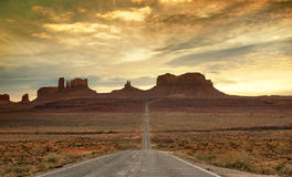 Route to the monument valley at sunset Royalty Free Stock Image