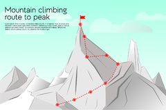 Route to the top, concept business. Success. Vector illustration mountain climbing route to peak. Path, route, achievement of goals, career growth, ascent vector illustration
