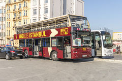 Route and tour buses on the streets of Istanbul.l. Transport Turkey. Royalty Free Stock Photography