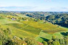 Route touristique célèbre de vin, weinstrasse à la frontière entre l'Autriche et la Slovénie Photographie stock libre de droits