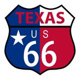 Route 66 Texas sign and flag. Route 66 traffic sign over a white background and the state name Texas with flag Royalty Free Stock Photos