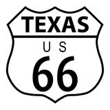 Route 66 Texas. Route 66 traffic sign over a white background and the state name Texas Stock Photo